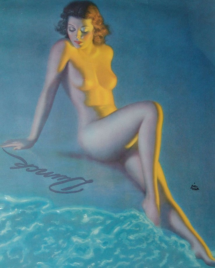 Framed Vintage Nude Pin-Up by Earl Moran - 2