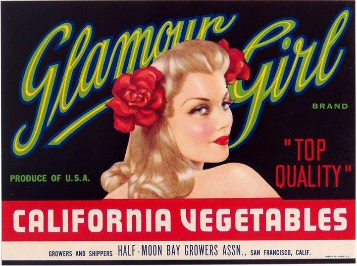 "Vintage Vargas Girl Produce Crate Label - ""Glamour"
