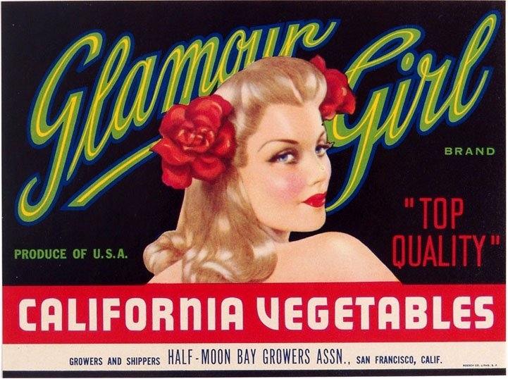 "Vintage Vargas Girl Produce Crate Label - ""Glamour"