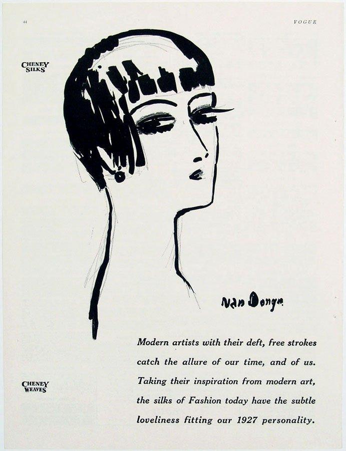 """Antique 1926 van Dongen """"Vogue"""" Advertisement"""
