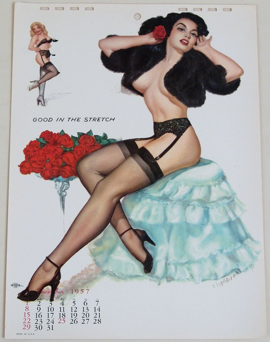 Vintage 1957 Pin-Up -  Sultry Brunette in Lingerie &