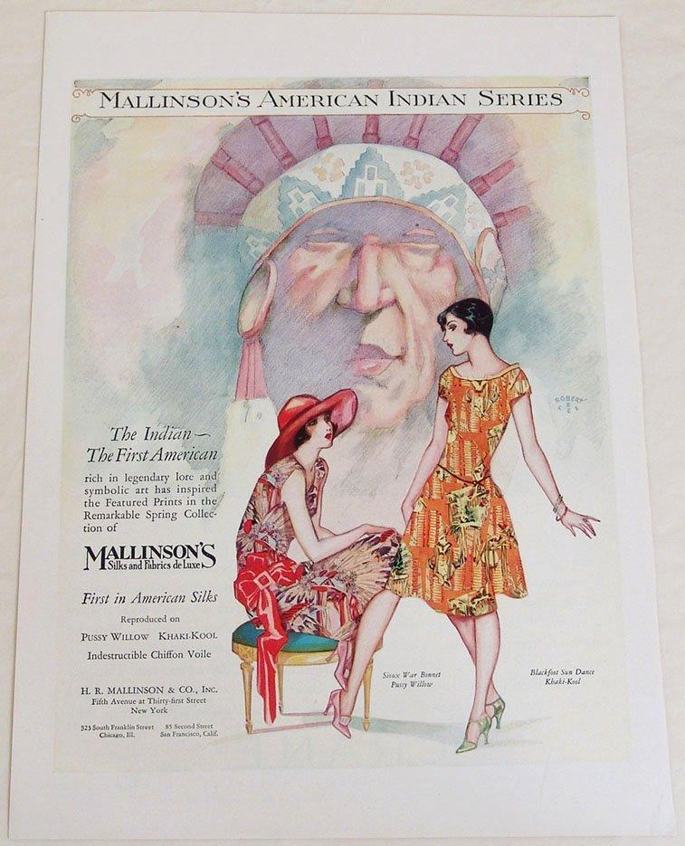 "1920s Ad - ""Mallinson's American Indian Series"" Fabrics"