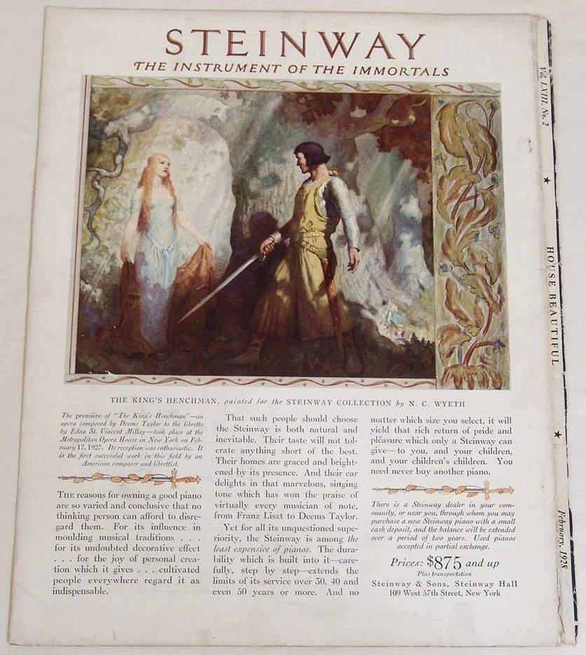 """Antique Steinway Piano Ad """"Instrument of the Immortals"""""""