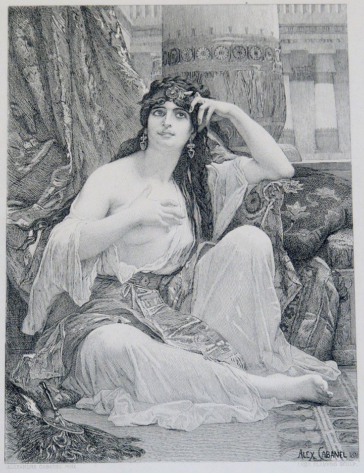 """Antique c1880 Risque Print """"The Sulamite"""" by Cabanel"""