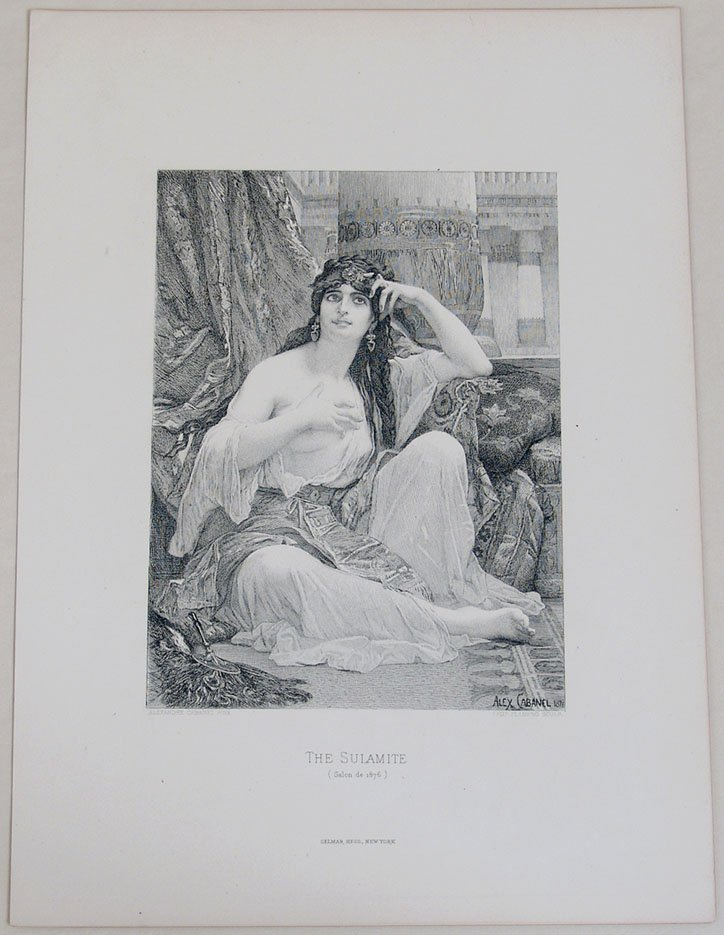 """Antique c1880 Risque Print """"The Sulamite"""" by Cabanel - 2"""
