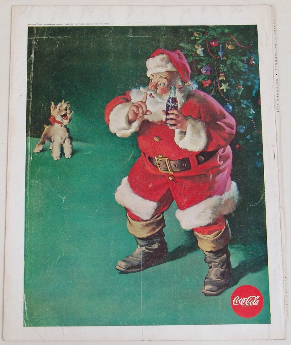 Vintage 1961 Coca-Cola Ad with Santa Claus & Scotty Dog