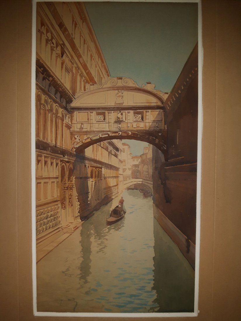 "Italy ""Venice"", Watercolor, around 1890, signed"