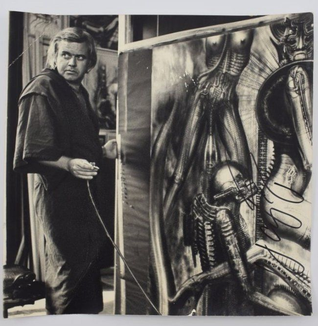 H. R. GIGER 2 signed photos, Alien