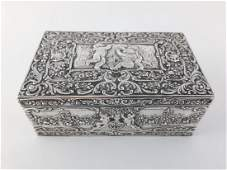 Art Nouveau silver box with angels and puttos, 800 silv