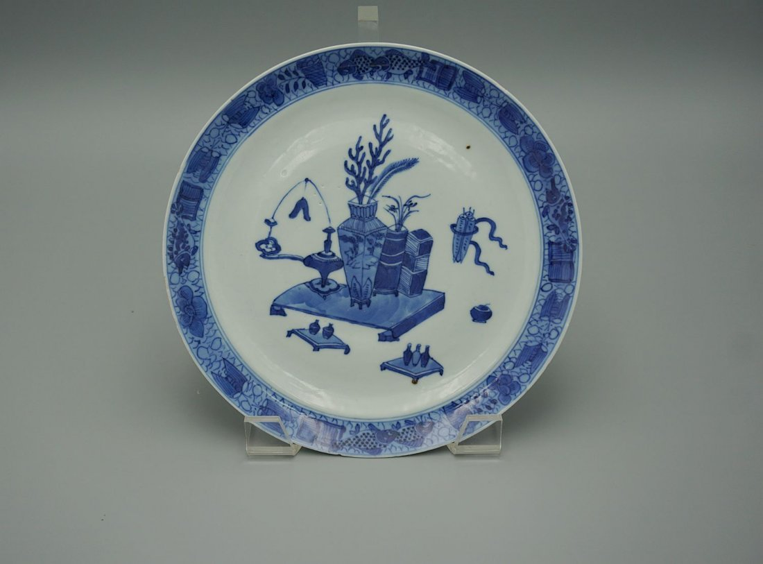 Antique chinese Kangxi export blue and white plate