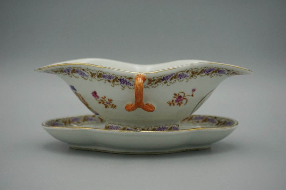 Antique chinese export armorial  bowl and plate