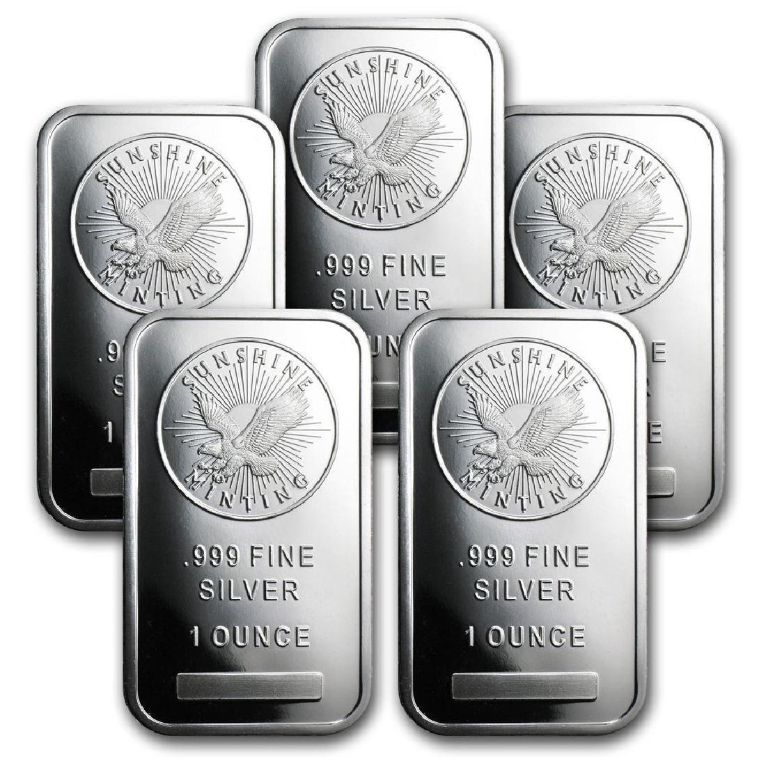 Lot of (5) Sunshine Silver Bars- 1 oz Each