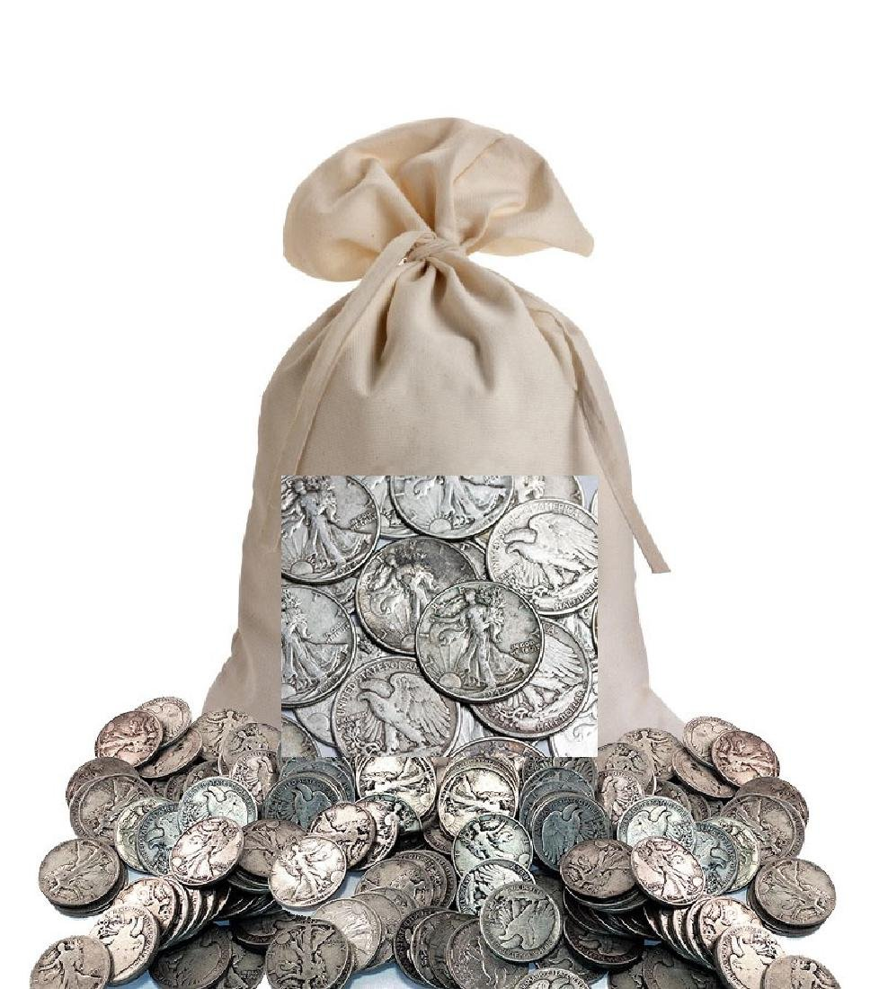 Canvas Bag Holding 200 Walking Liberty Halves-90%