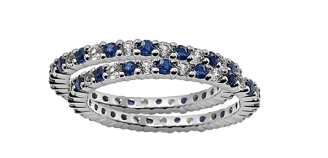 Matched Pair of Sapphire and Diamond Rings 10k WG