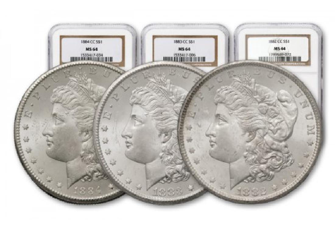 1882-83-84-CC Morgan Silver Dollars NGC MS64