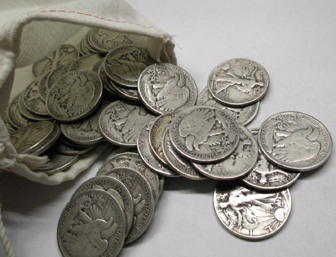 (50) Walking Liberty Half Dollars -90% Silver