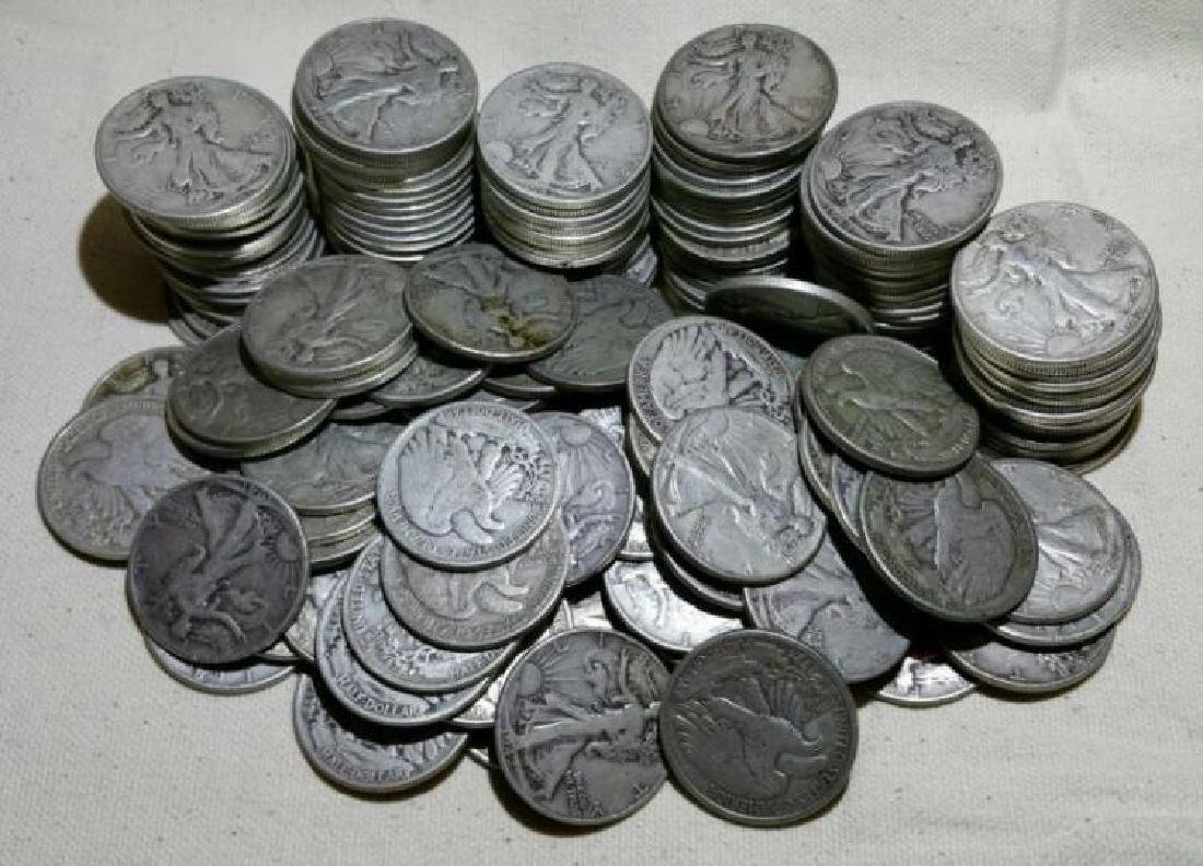 Lot of (100) Walking Liberty Half Dollars-90% - 2