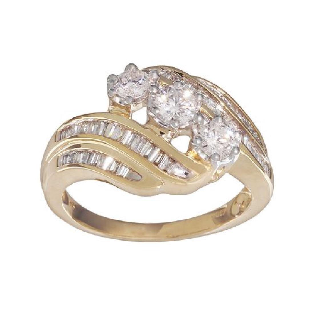 1 tcw, Diamond Cocktail Ring - 10k YG