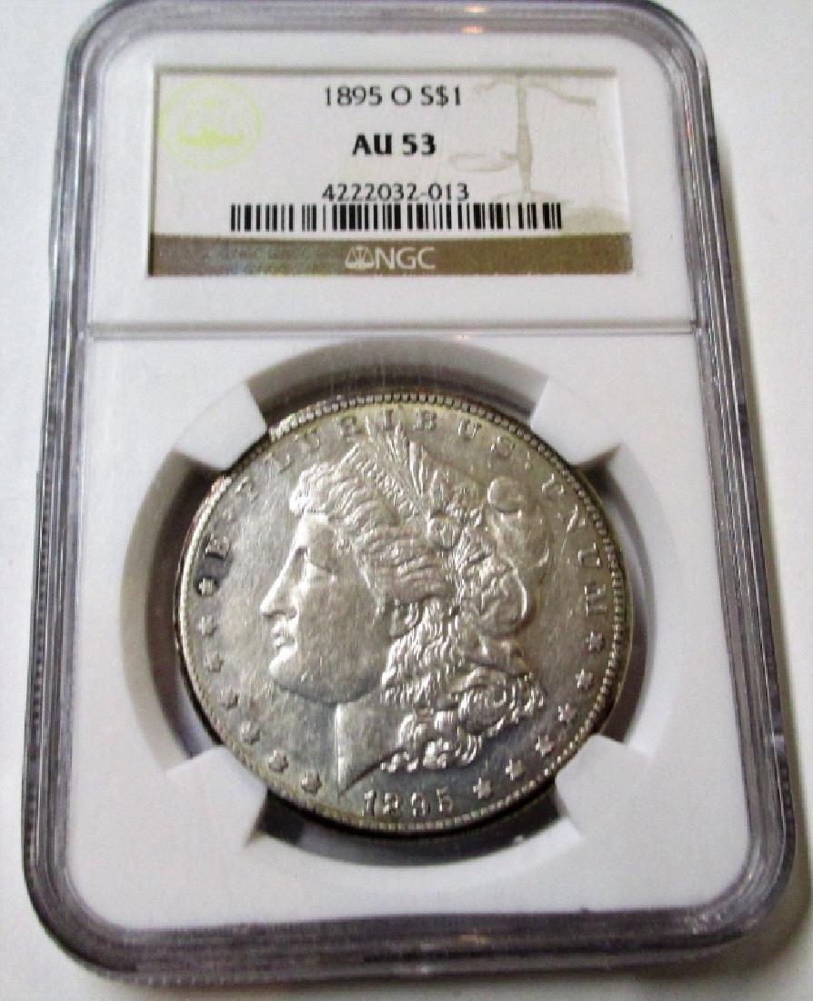 1895 O AU 53 KEY DATE Morgan Silver Dollar NGC
