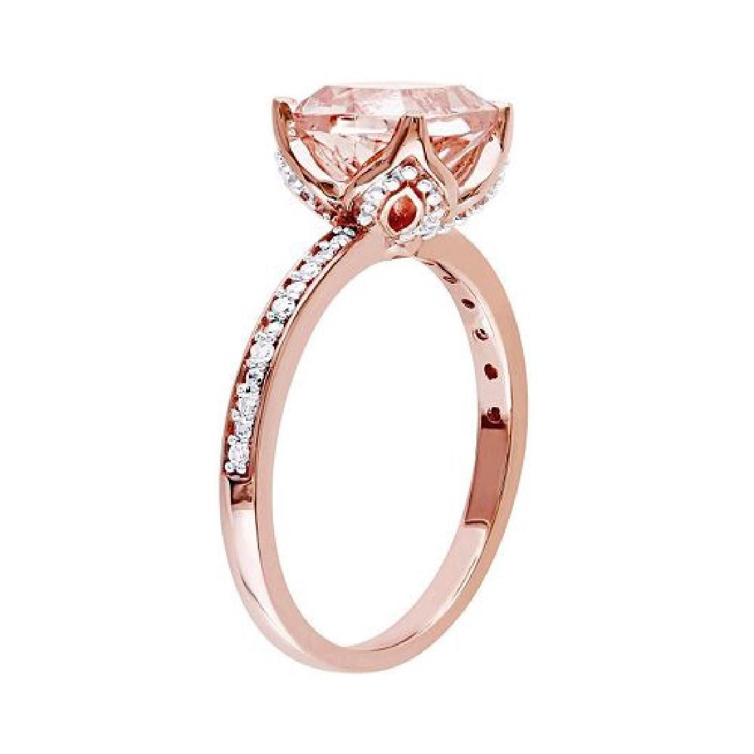 10k Rose Gold Morganite and Diamond Ring
