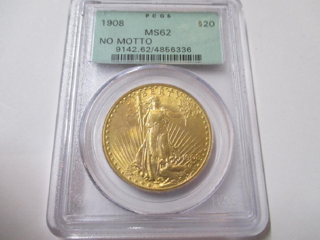 1908 NM MS 63 PCGS $ 20 Gold Saint Gaudens