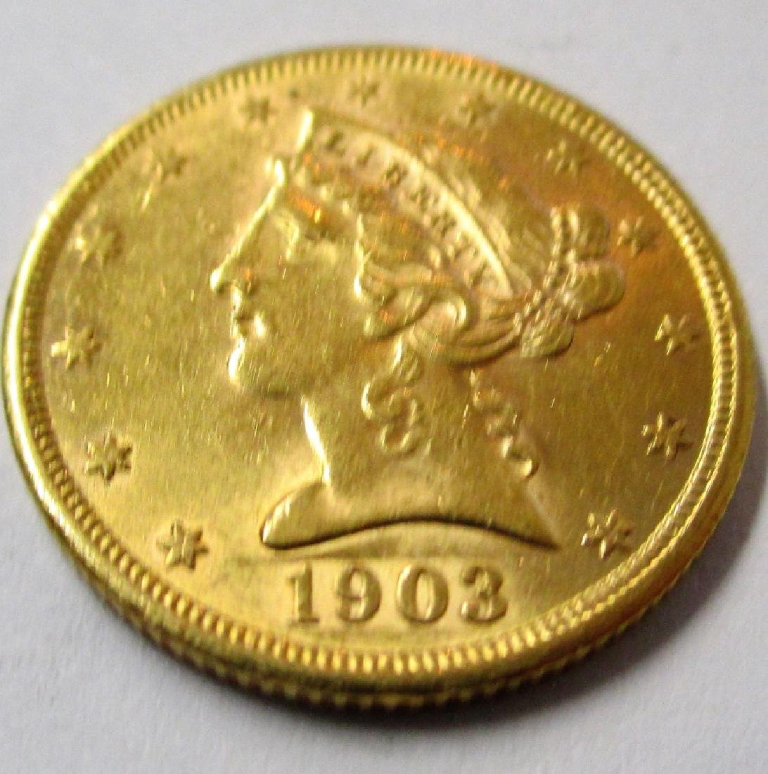 1903 S $5 Gold Liberty Half Eagle