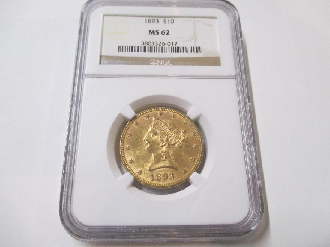 1893 MS 62 NGC $ 10 Gold Liberty