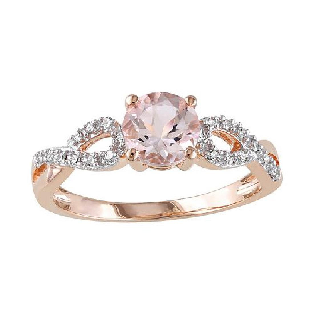 1 ct Morganite and Diamond Ring 10k RG