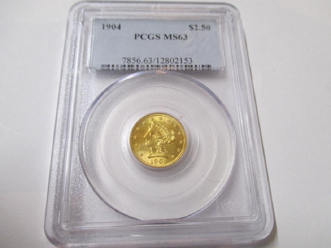 1904 MS 63 PCGS $2.5 Gold Liberty RARE in Grade