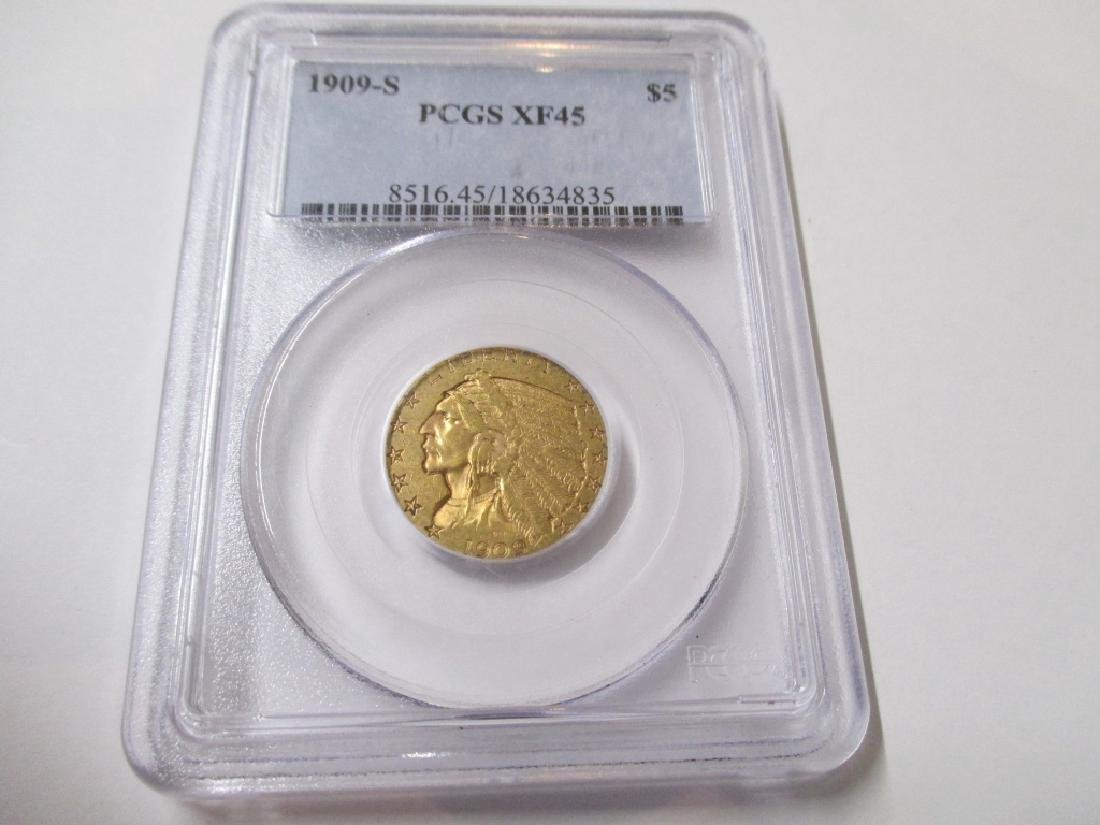 Key Date 1909 S $5 Gold indian PCGS XF 45