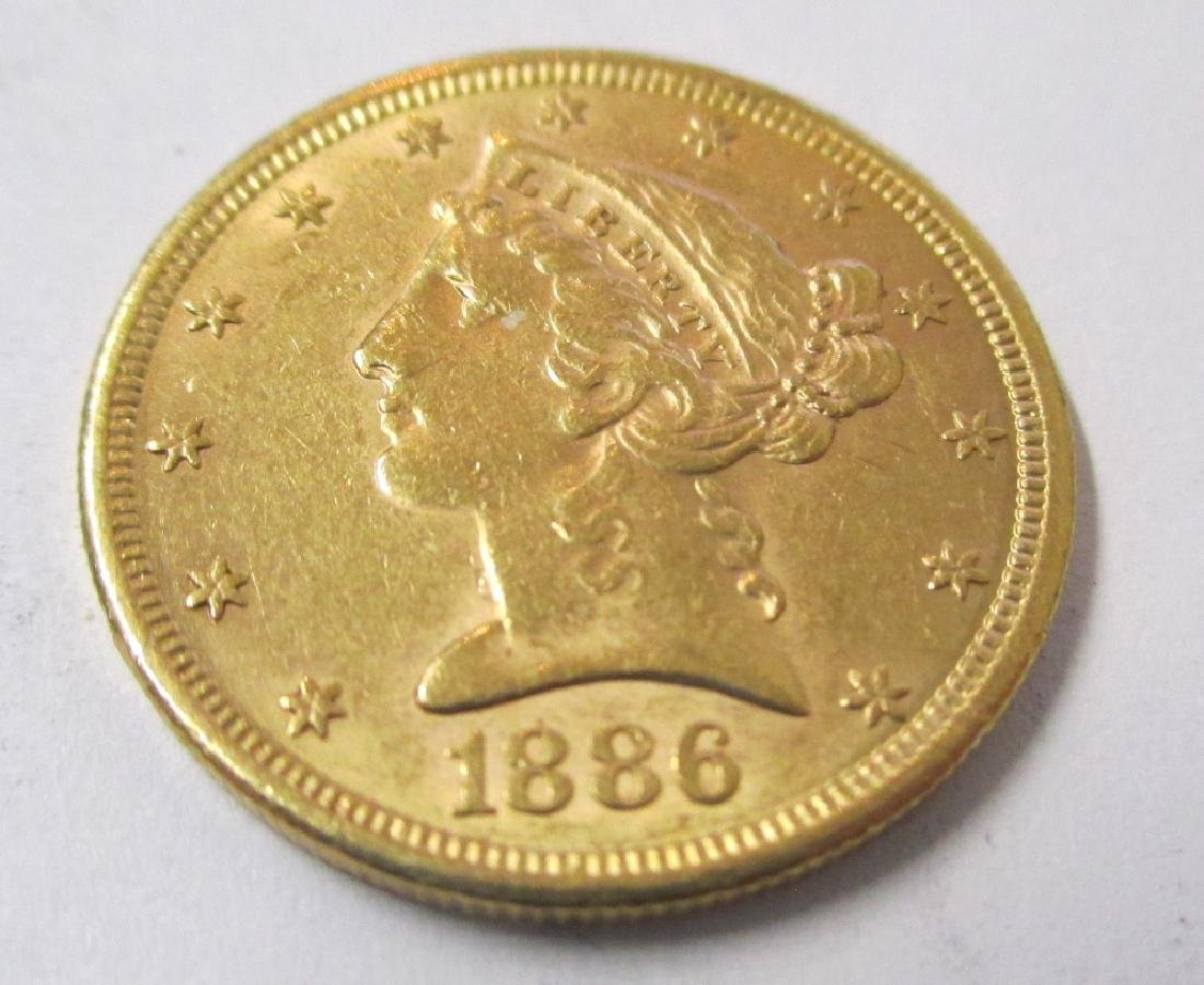 1886 s $5 Gold Liberty Better Date Coin