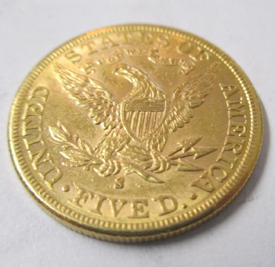 1886 s $5 Gold Liberty Better Date Coin - 2