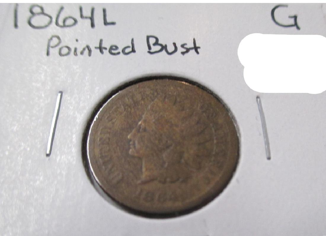 1864 L Pointed Bust Indian Head Cent