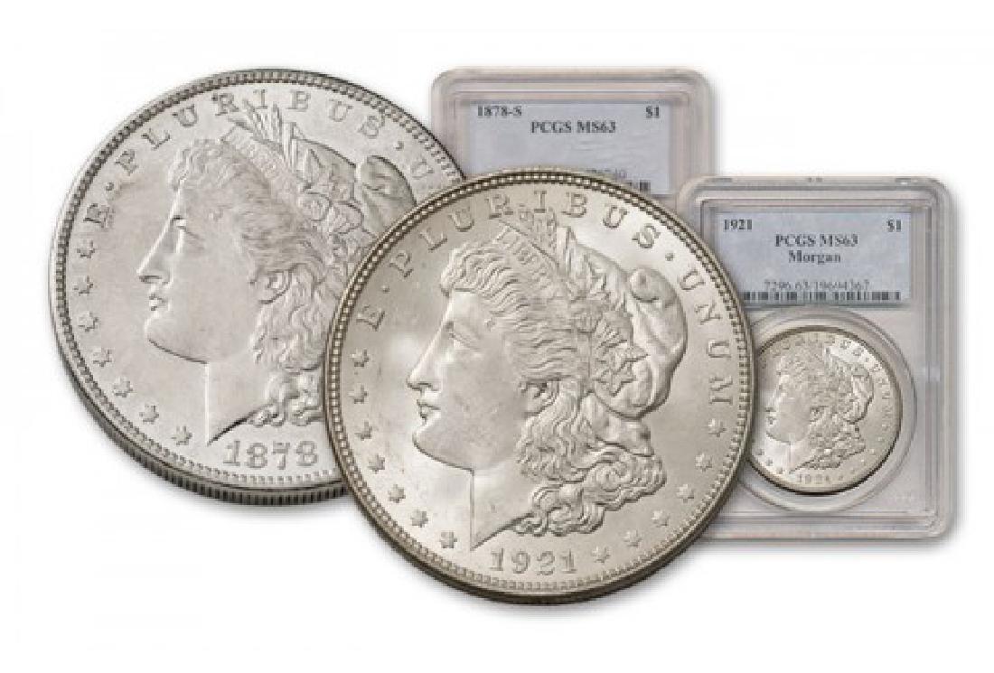 MS 63 PCGS 1st & Last Morgan Dollars 78s-21p