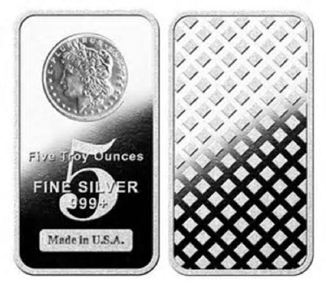 5 oz. Silver Bar - Morgan Design -.999 Pure - 2