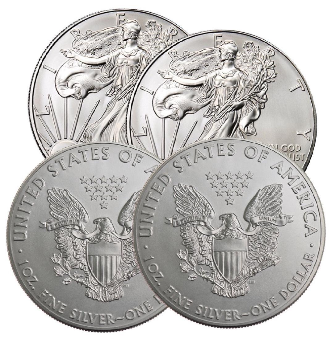 (4)  Random Date US Silver Eagle BU Grade - 2