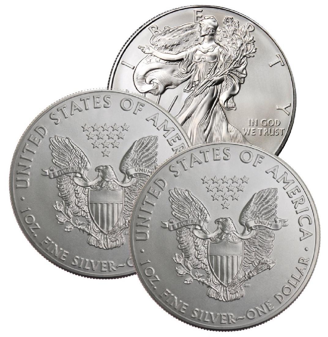 (3) US Silver Eagles - Random Dates BU Grade