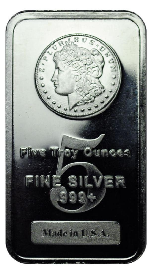 5 oz. Morgan Design Bar - .999 Pure Silver - 2