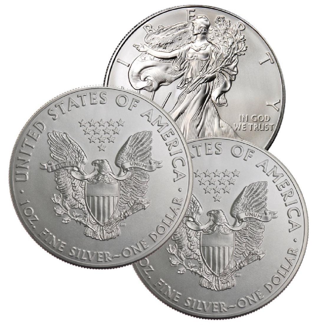 (3) US Silver Eagles - Random Dates BU Grade - 2