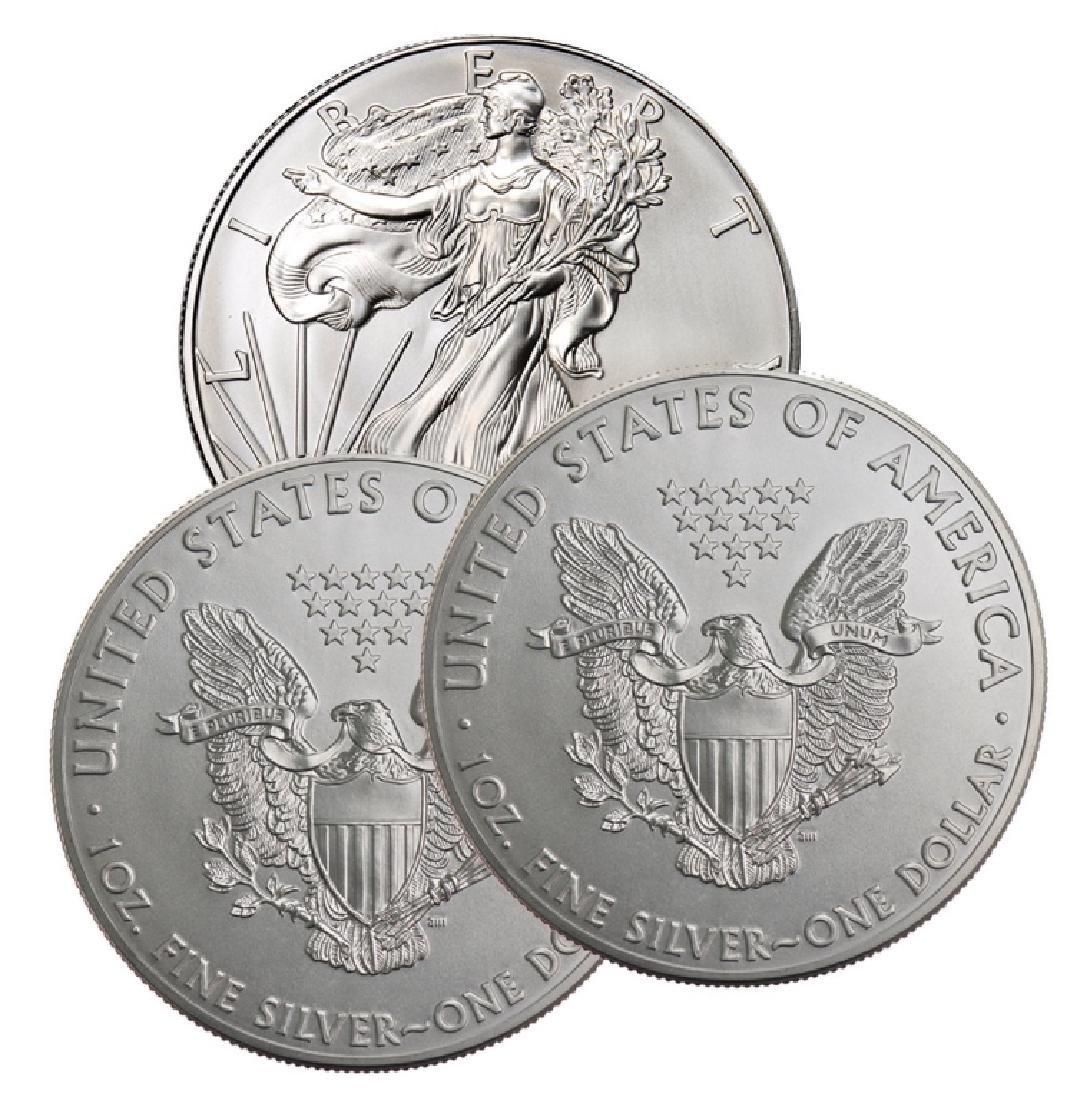 (3) US Silver Eagles - Random Dates BU Grade - 3