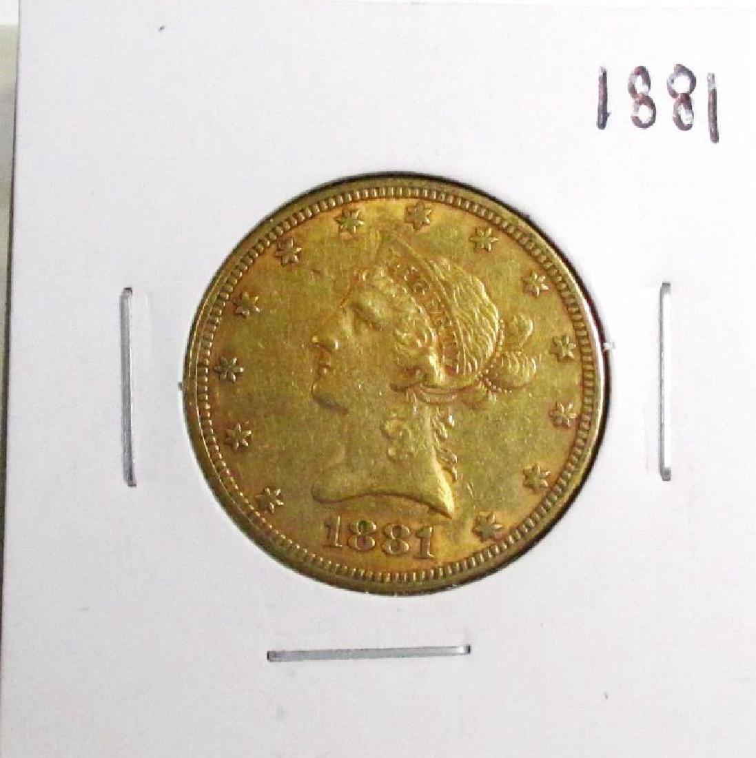 1881  10 Gold Liberty Eagle