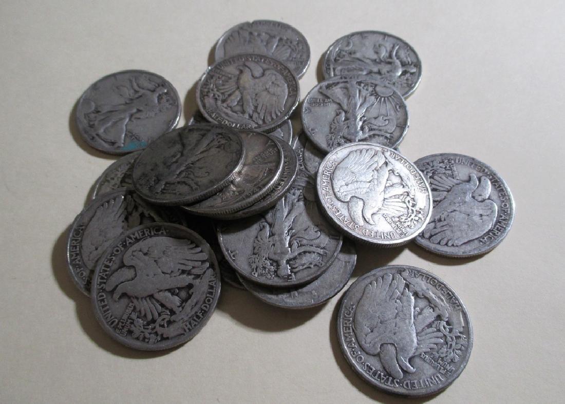 Lot of (20) Walking Liberty Half Dollars -90%