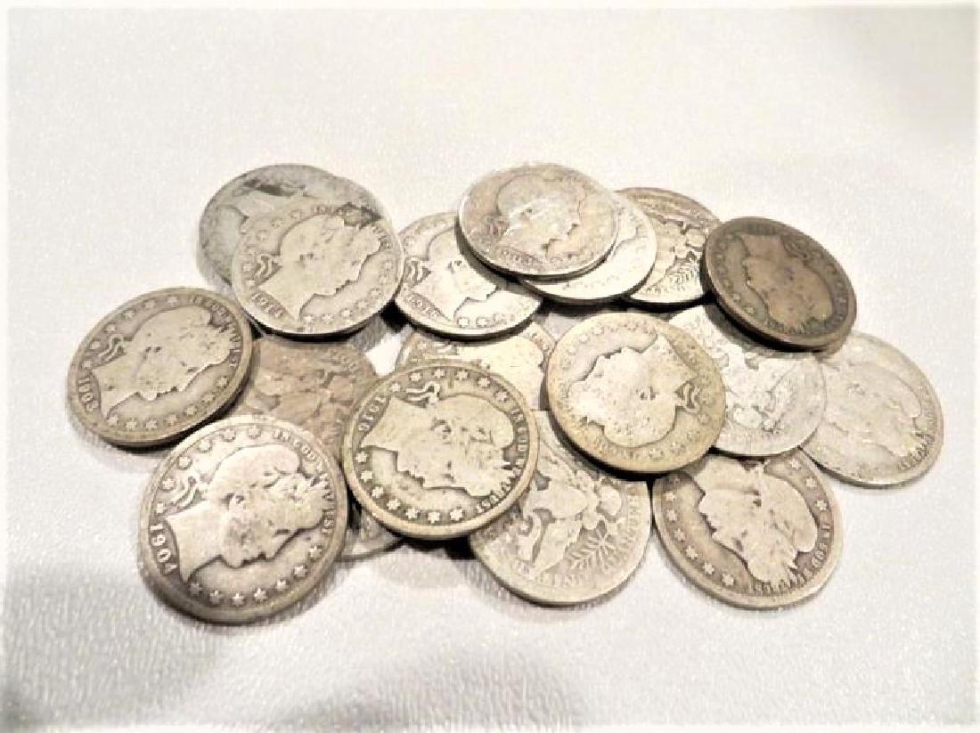 (20) Barber Quarters -90% Silver - 2