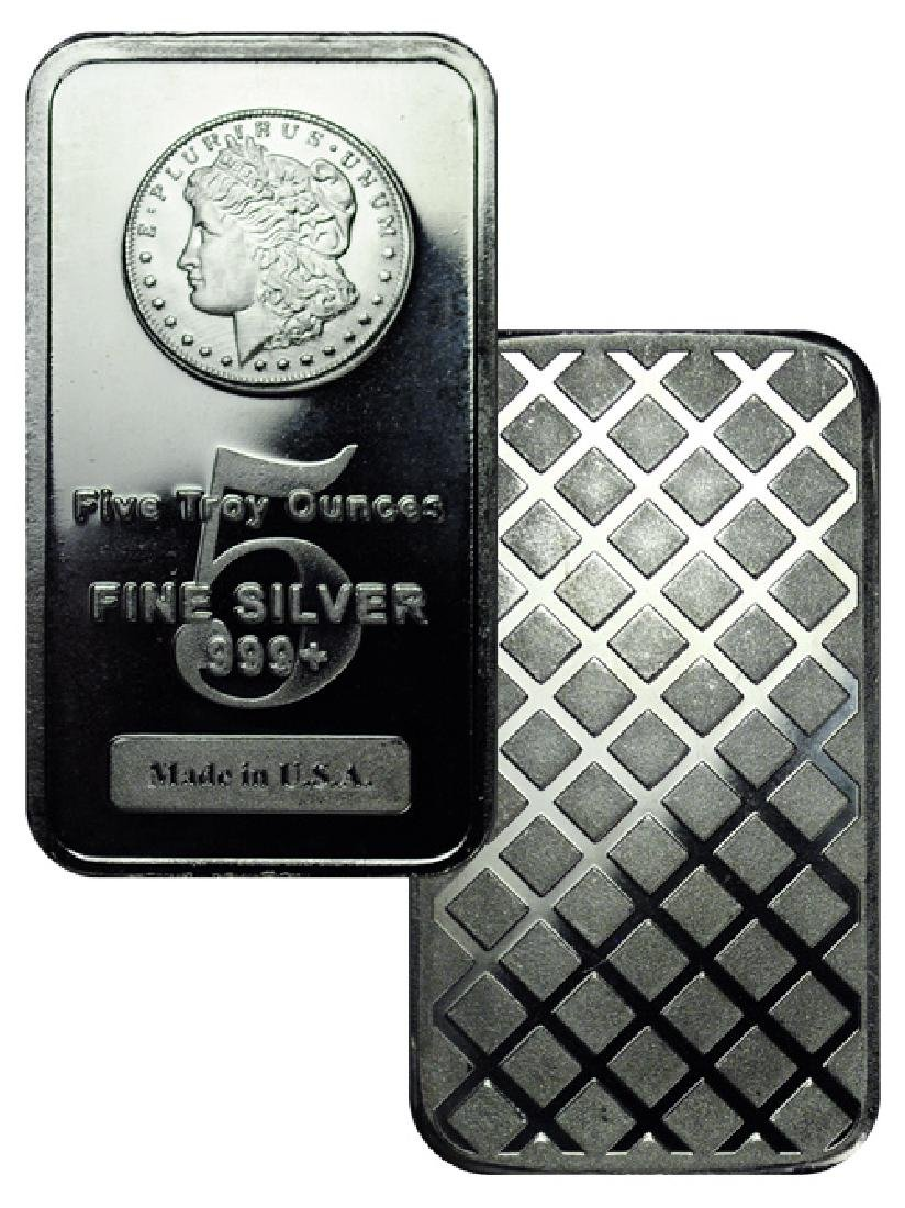 5 oz. Silver Morgan Design Bar -.999 Pure