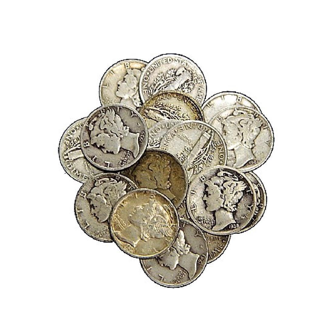 (50) Mercury Dimes -90% Silver Random - 2
