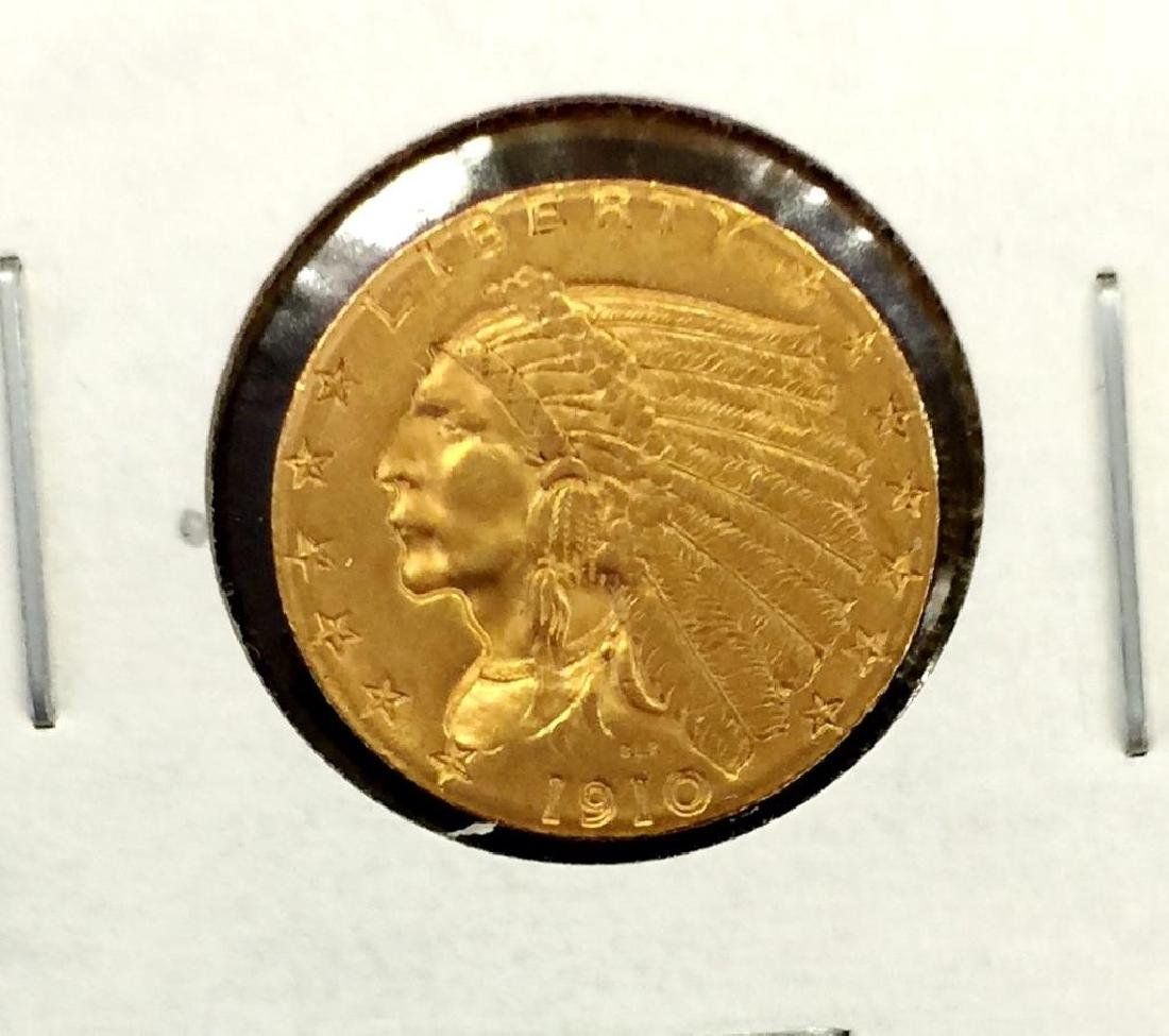 1910  2.5 Gold Indian - Quarter Eagle -