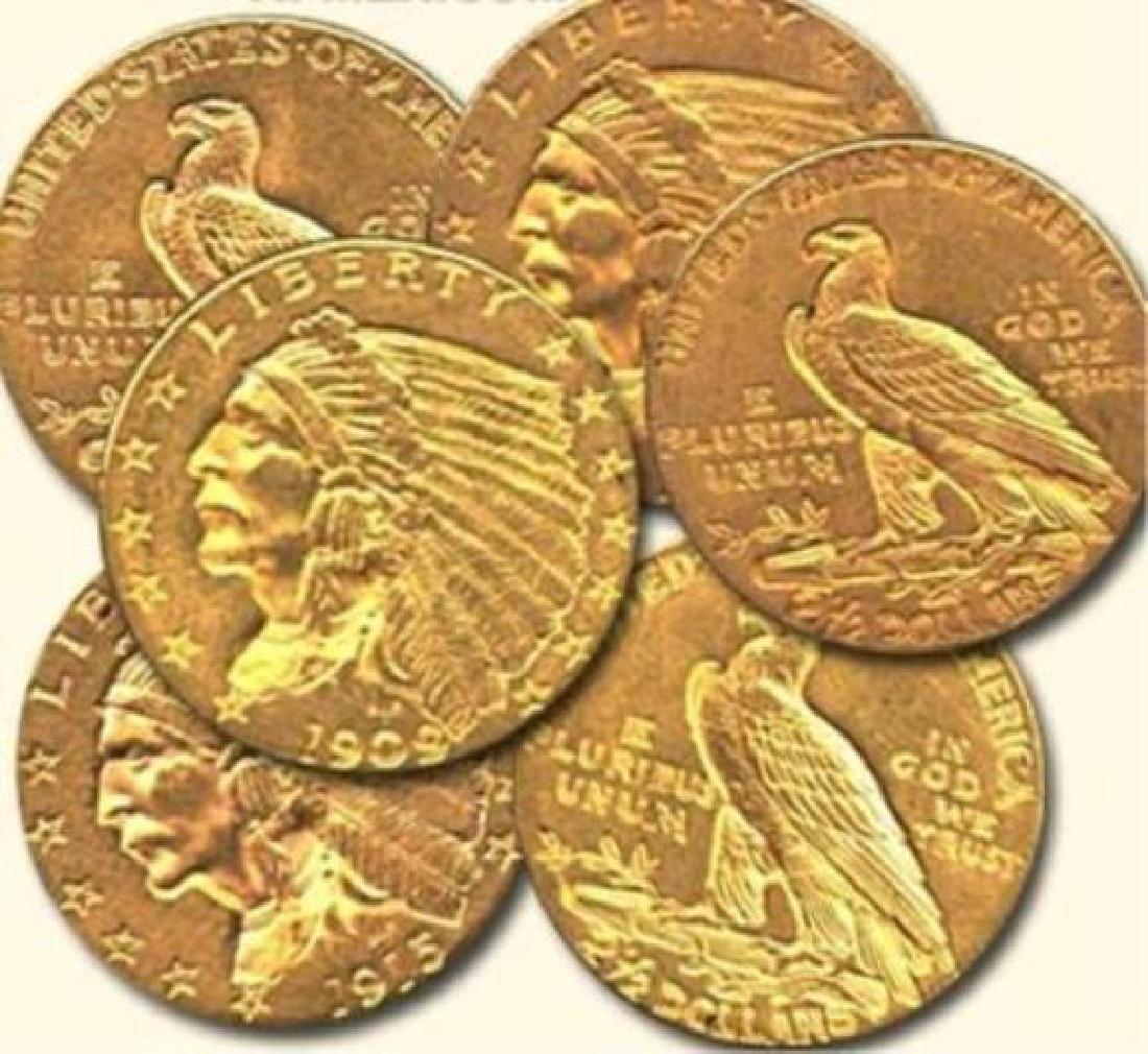 (6) Random Date 2.5 Gold Indian Quarter Eagles