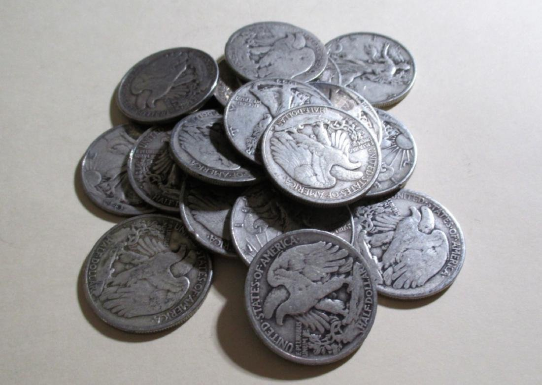 Lot of (20) Walking Liberty Half Dollars -90% - 2