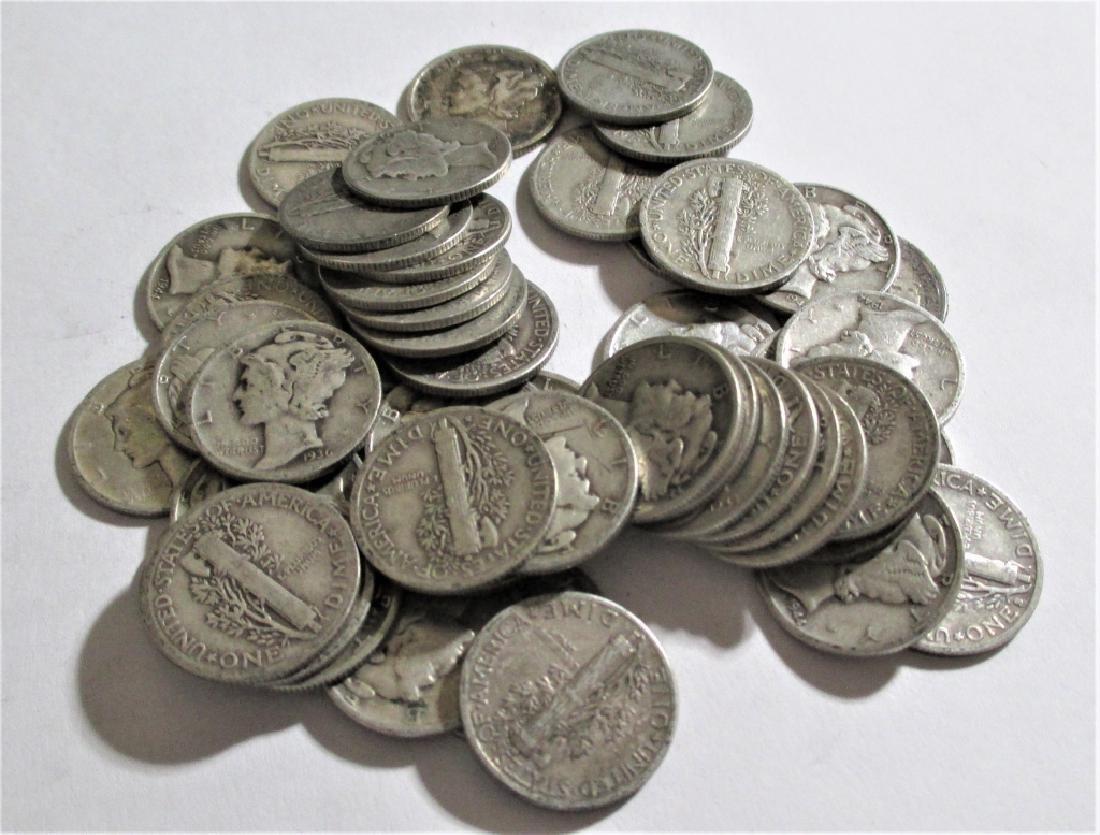 (50) Mercury Dimes - 90% Silver Random Mix - 2