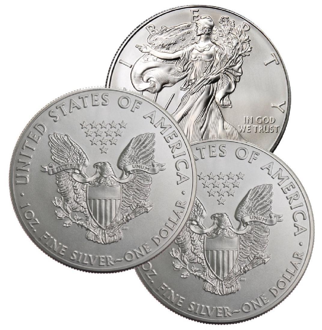 (3) Random Date BU Grade Silver Eagles - 2